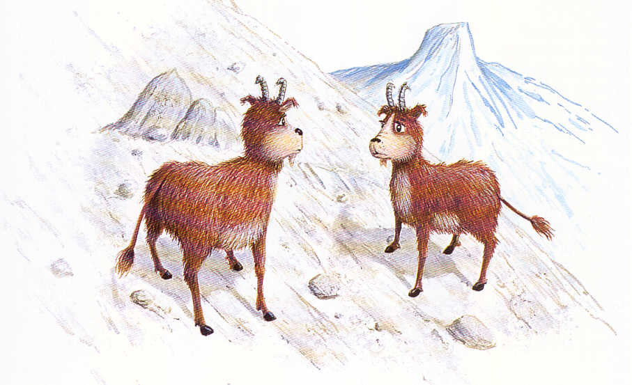Two Dahu's during a dramatic encounter.